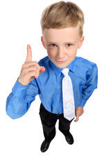boy points finger