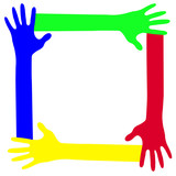 Colored hands together in a frame