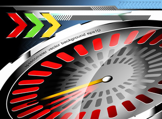 Glossy speedometer vector abstract background