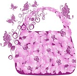 Floral shopping bag with orchids and butterflies