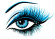 Vector art illustration beautiful female blue eye