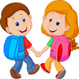 Fototapety Boy and girl with backpacks