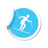 Downhill skiing icon. Vector illustration