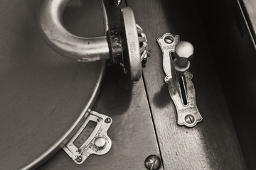 Vintage Phonograph Closeup With Turntable and Needle 3