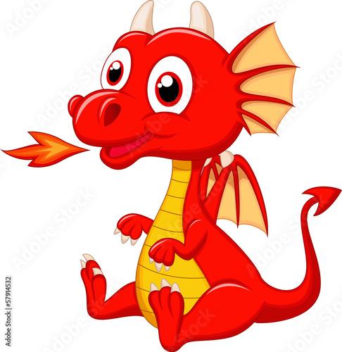 Cute baby dragon cartoon - 57914532