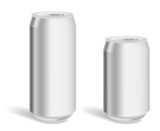 Two blank aluminium cans for product mockup poster