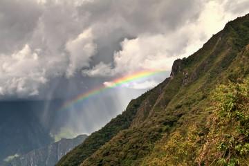 Rainbows in the mountains of Machu Picchu, Cusco, Peru