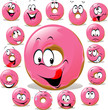 Donut cartoon with many facial expression isolated