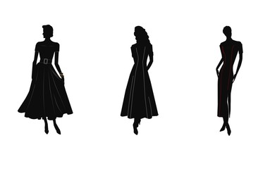 ladies in silhouette wearing gowns