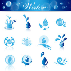 Water And Drop Icons - Set - Isolated On White Background