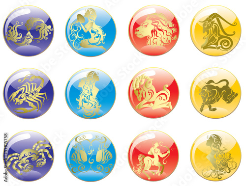 Zodiac Star Signs set . Vector set astrology sign.