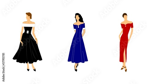 ladies in evening gowns