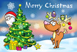 Merry Christmas greeting card, santa claus hidden behind e tree