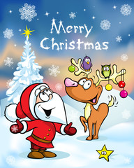 Merry Christmas greeting card, funny santa claus and reindeer