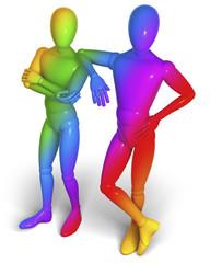 Zwei regenbogenfarbige Figuren, Freunde