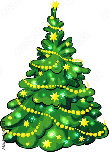 Illuminated Christmas Tree isolated on white background