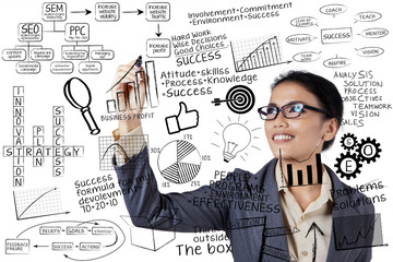 Businesswoman writing success concept