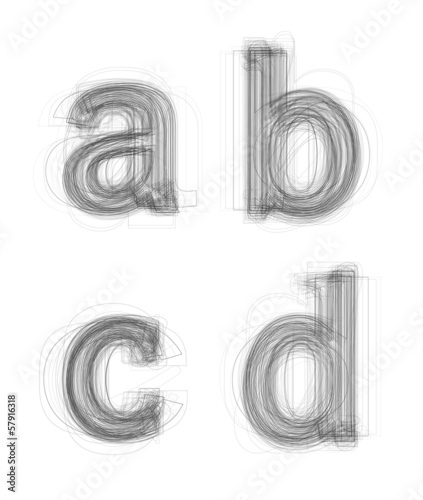 Sketchy alphabet lowercase letters, isolated on white