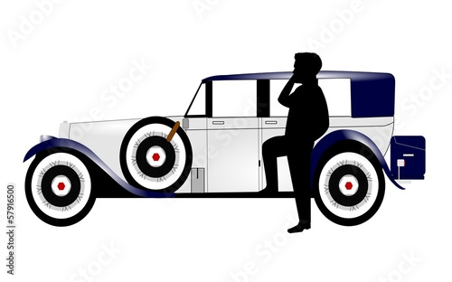 vintage car with man on cell phone