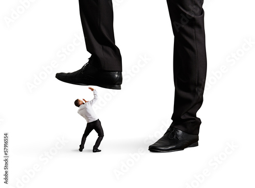 man under leg his boss