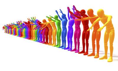 Farbige Figuren bei der La Ola Welle, perspektivisch