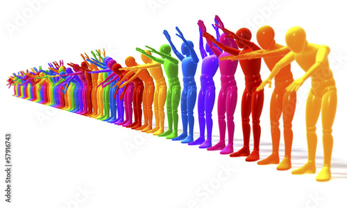 Leinwandbild Motiv Farbige Figuren bei der La Ola Welle, perspektivisch