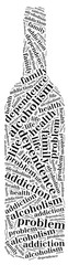 Tag or word cloud alcohol addiction related in shape of bottle