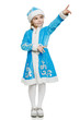 Little girl in blue costume of snow maiden pointing to side