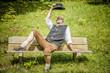Bavarian man on bench