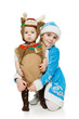 Two siblings in Xmas costumes over white background