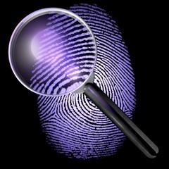 Lupe über Fingerabdruck, UV-Licht