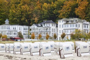 Strandkörbe im Herbst in Binz auf Rügen,Deutschland