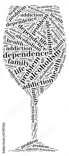 Tag or word cloud alcohol addiction related in shape of glass