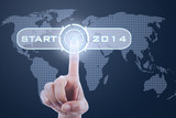 Finger touching button start to 2014