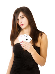 woman poker aces