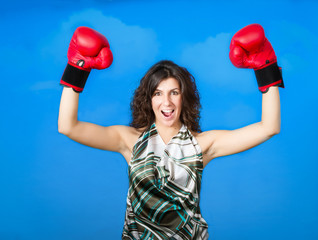 woman boxing success gesture