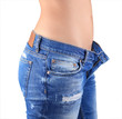 Woman waist wearing jeans. Weight loss stomach closeup.