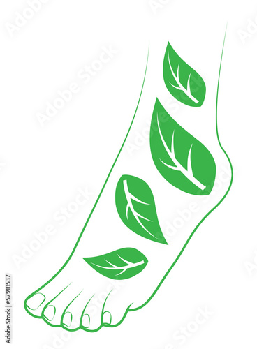 Human foot with leafs. Element for design.