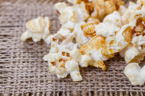 Popcorn  on a wooden background