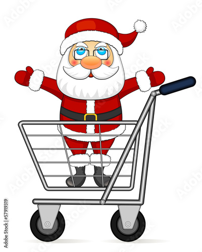 Santa Claus in shopping cart