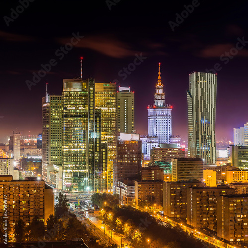 Fototapety, obrazy : Warsaw downtown at night