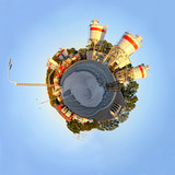 Planet with factory of concrete.