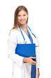 Smiling nurse isolated on white