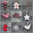 Compilation collage of aged traditional Christmas decorations