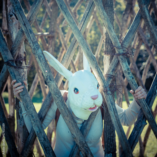 young hipster rabbit mask woman in the cage