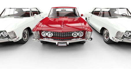 White And Red Classic American Cars