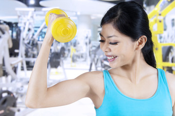 Sporty woman lifting a dumbbell