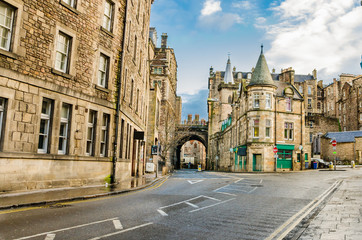 Street Lined with Historic Buildings in Old Town Edinburgh