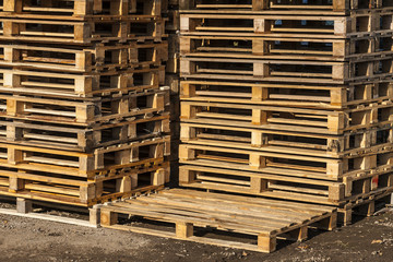 Wooden transport pallets ready for delivery.