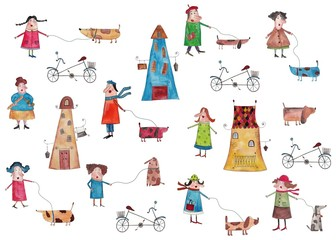 decorative elements, people walking with dogs